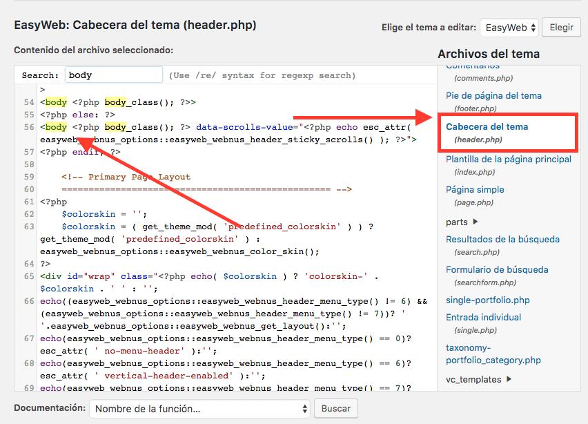 Copia el código de tu Propiedad de Google Analytics, Abre tu área privada de WordPress y ve a Apariencia > Editor  donde en tu hoja de estilo header.php Pegamos el código de Google Analytics justo después del código <body> Guardamos