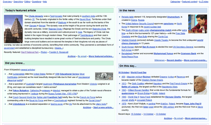 Página web de Wikipedia