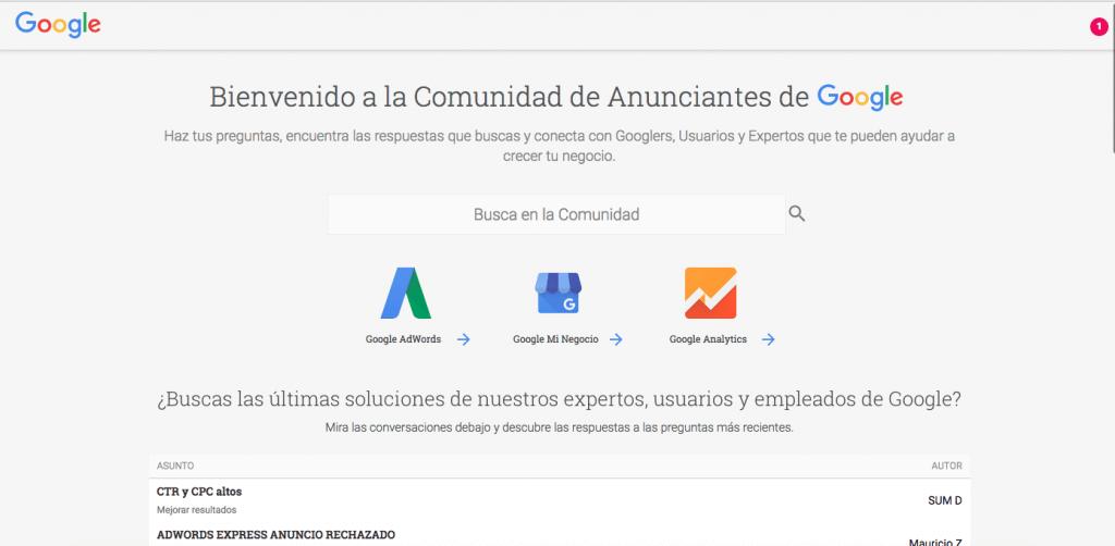 Homepage de Comunidad de Anunciantes de Google