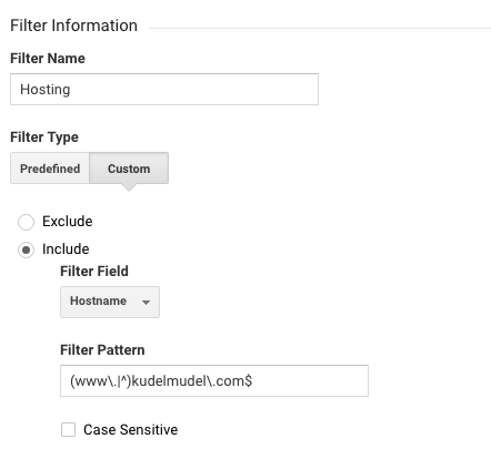 Filtro Hostname Google Analytics